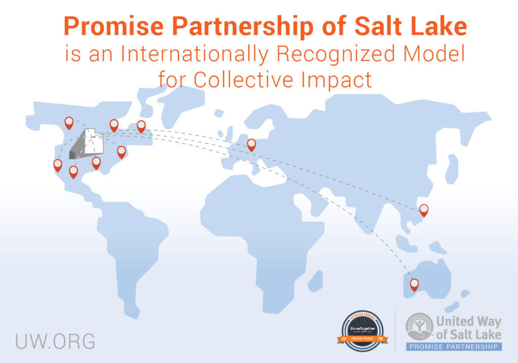 Map of where United Way of Salt Lake has presented about the Promise Partnership