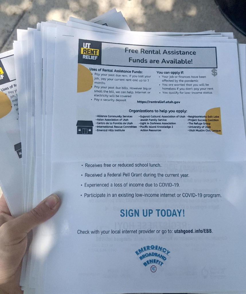 Stay Safe, Stay Connected information packets with rental assistance and emergency broadband resources