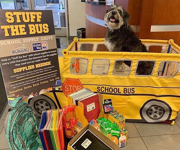 Stuff The Bus Supply Drive Dog